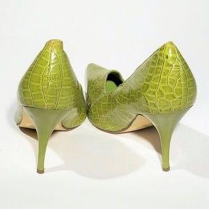 Liliana Shoes - Liliana Green Faux Gator Skin Heels - Size 8.5